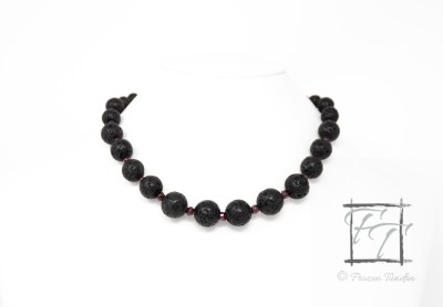Embers garnet and lava rock collar necklace