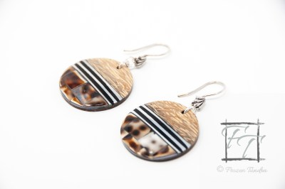 Arenaceous Shores: Coconut Palm Tree wood and cowrie shell earrings