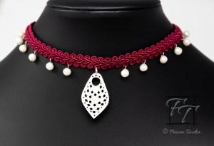 Luminous Spirit: pearl and carved bone choker