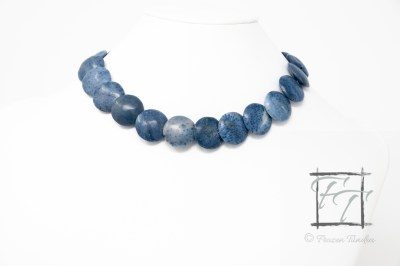 Deep Blue Sea: Coral and sterling silver collar necklace