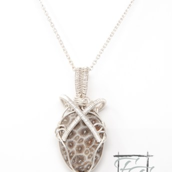 Atoll fossil coral wire wrap necklace