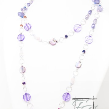lavender rose rope necklace