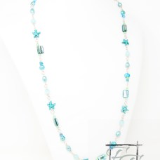 Turquoise and blue chain necklace with sea stars