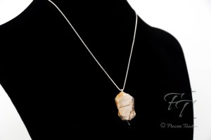 Ancient Forest Moonlight: Light petrified wood pendant on silver chain necklace
