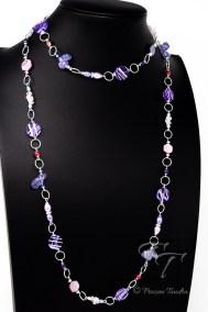 lavender rose rope necklace