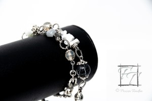 Celestial cloud bracelet: Grey crackle wrap bracelet