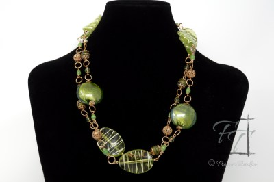 Midori- green and gold rope necklace