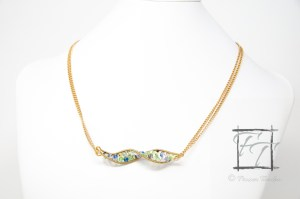 light gold DNA strand necklace