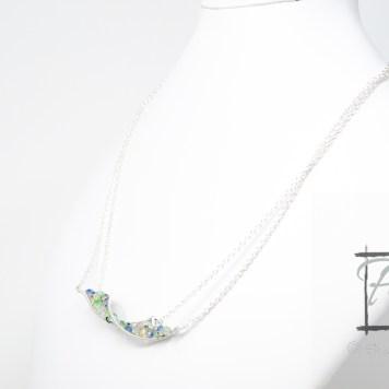 light silver DNA strand necklac
