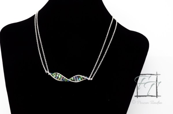 light silver DNA strand necklac