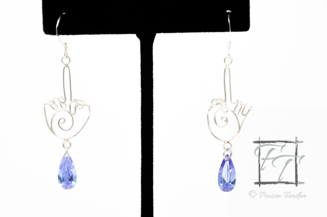 Elegant sterling silver middle finger earrings with cubic zirconia