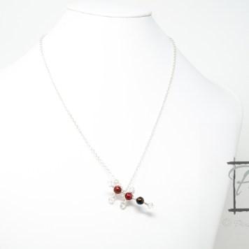 molecular model of ethanol- silver necklace