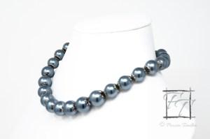 Gunmetal glass pearl collar necklace