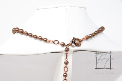 Copper czech glass collar with iridescent green sheen and fish clasp