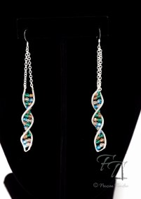 double helix DNA earrings in silver summer orchard