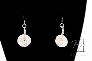 Trap Door Operculum shell earrings in silver, moon snail, Natica bibalteata
