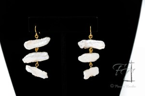 Stacks stick pearl earrings in gold