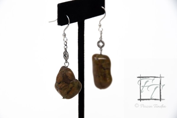 Of the earth brown magnesite earrings in antiqued silver