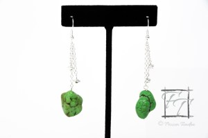 apple green magnesite nugget earrings in silver
