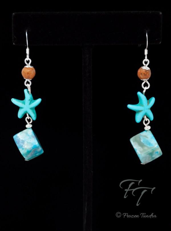 California Sand crazy lace agate sea star earrings