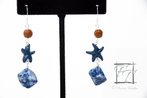 California Sand sodalite sea star earrings