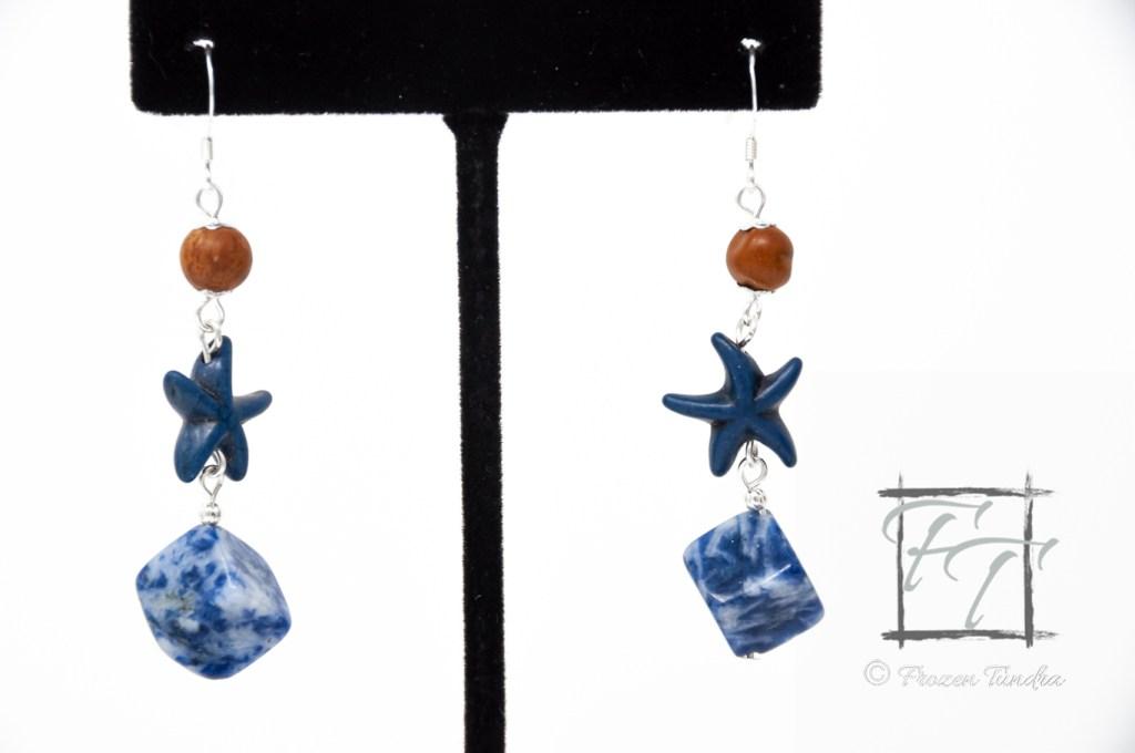California Sand sodalite sea star earrings