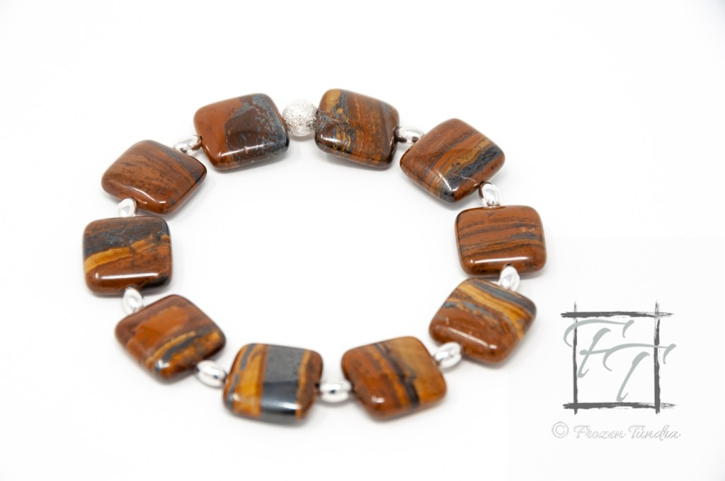 Tiger iron bracelet with silver