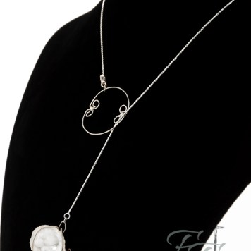 Silver Treasures geode lariat necklace