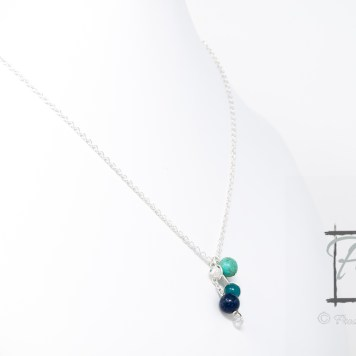 molecular model of saltwater silver necklace with lapis lazuli, magnesite, Czech glass, and crackle glass