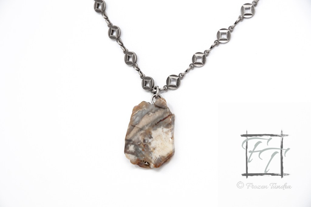 ancient forest petrified wood pendant necklace in antiqued silver fossil