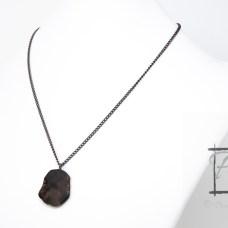 Gunmetal petrified wood pendant necklace