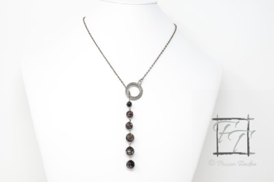 ancient seas lariat necklace fossil agate antiqued silver