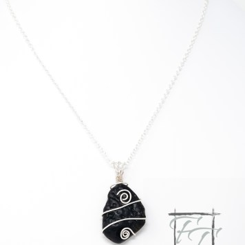 Tektite with silver wrap necklace