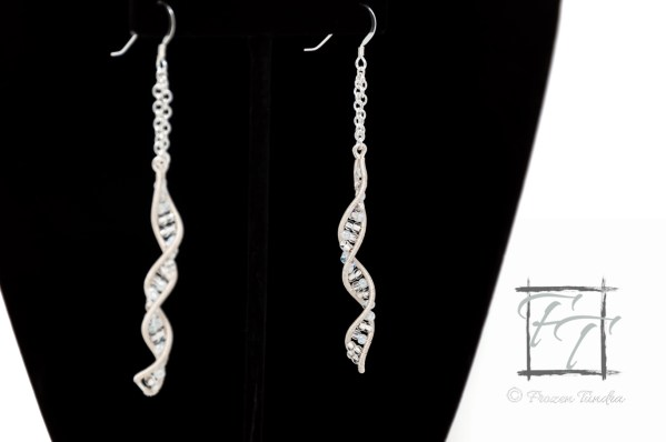 Silver double helix DNA strand earrings hand-wrapped with glass beads in four shades