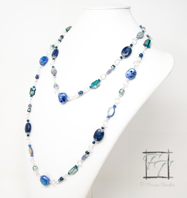 Aqua Dreams: long blue and silver rope necklace