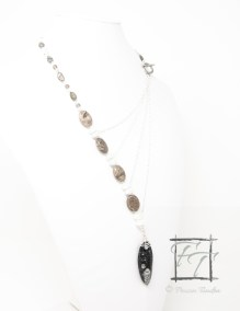 The Shallows orthoceras asymmetrical necklace with fossil coral, labradorite and moonstone