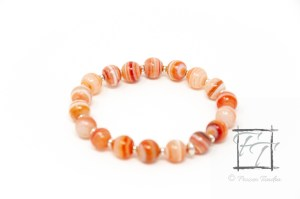 Red planet bracelet with banded red agate