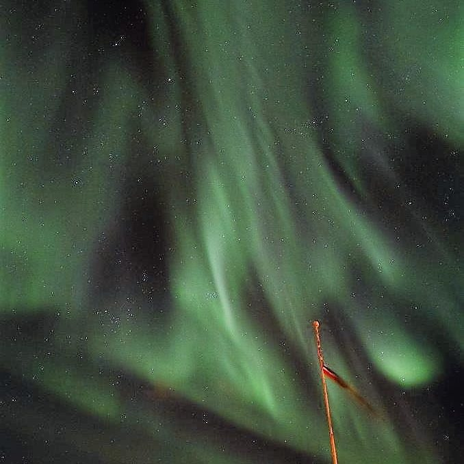 Noorderlicht boven Kvalnesbrygga, Vesteralen, Noord-Noorwegen