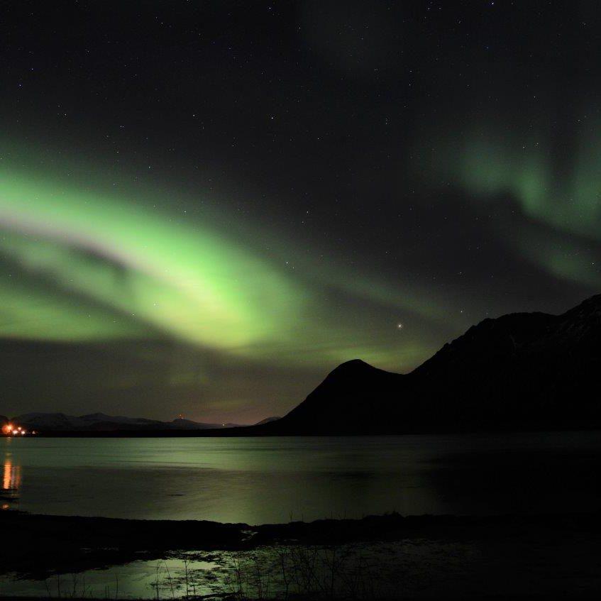 Noorderlicht bij de dam bij Straumnes Foto: Fru Amundsen ©