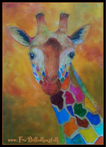 FruBilledkunst giraf - TK. Farveblyant og PanPastel.