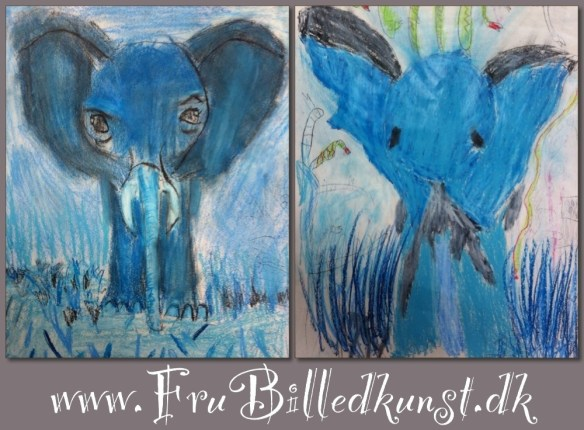 www.FruBilledkunst.dk - value painting of an elephant - 2nd grade