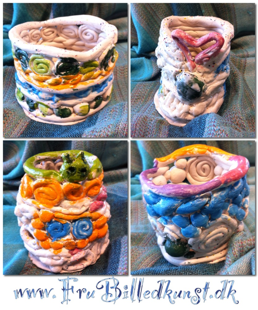 Coil pots with glaze