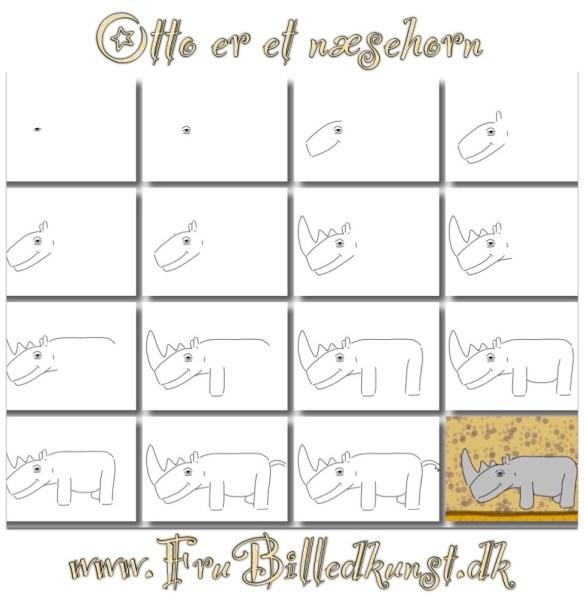 www.FruBilledkunst.dk - Otto er et næsehorn - trin-for-trin