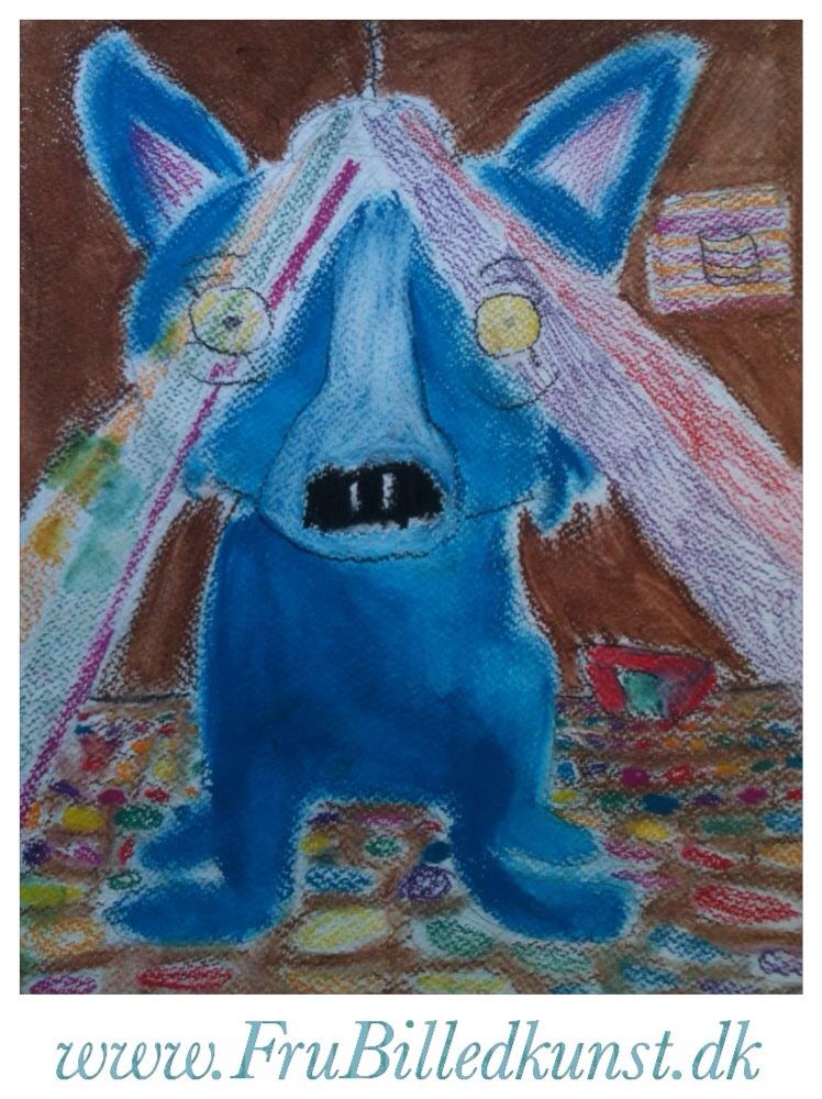 www.FruBilledkunst.dk - Blue Dog at Disco