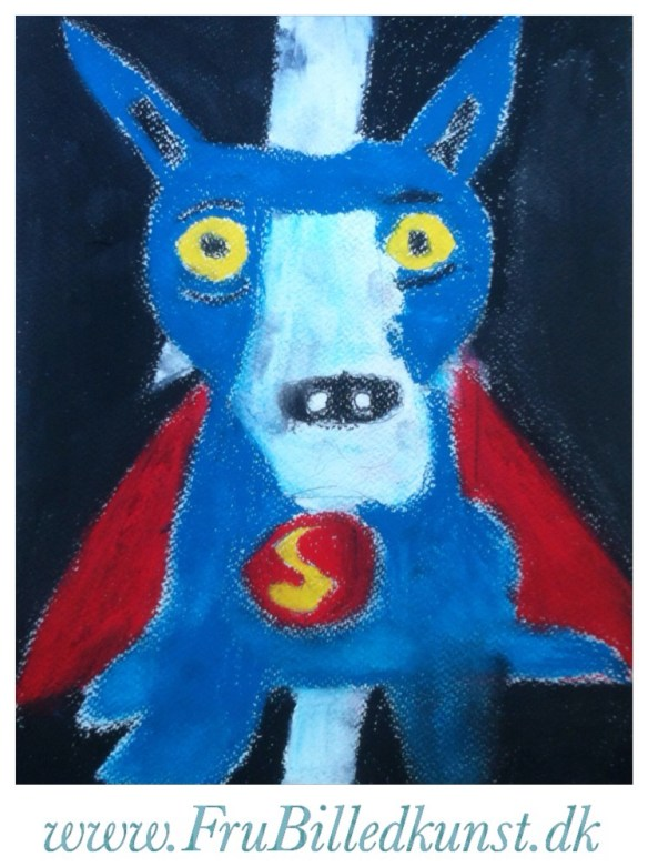 www.FruBilledkunst.dk - Blue Dog as Superman