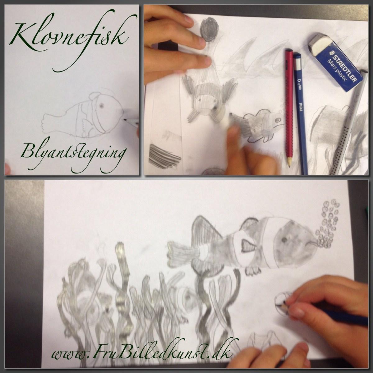www.FruBilledkunst.dk - clownfish in pencils