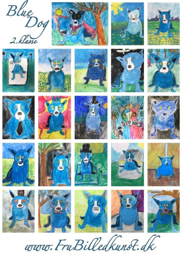 2b Blue dog plakat - www.frubilledkunst.dk