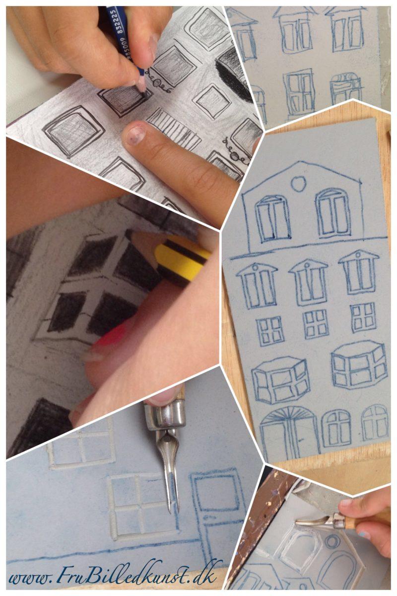Linoleumssnit af byhuse - undervisning i billedkunst 5.klasse
