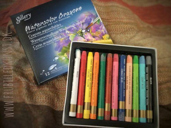 Test af gallery watercolor crayons på FruBilledkunst