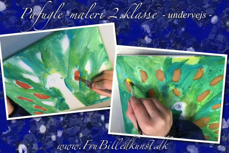 Maleri i 2.klasse - Påfugle